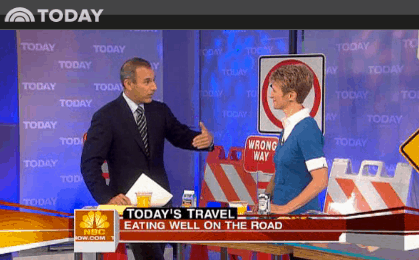 Elizabeth Ward, MS, RD on The Today Show discussing eating well on the road.