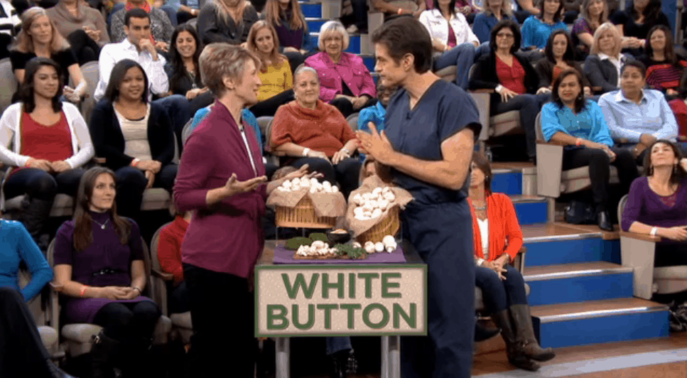 Elizabeth Ward, MS, RD discussing the health benefits of mushrooms on the Dr. Oz show.