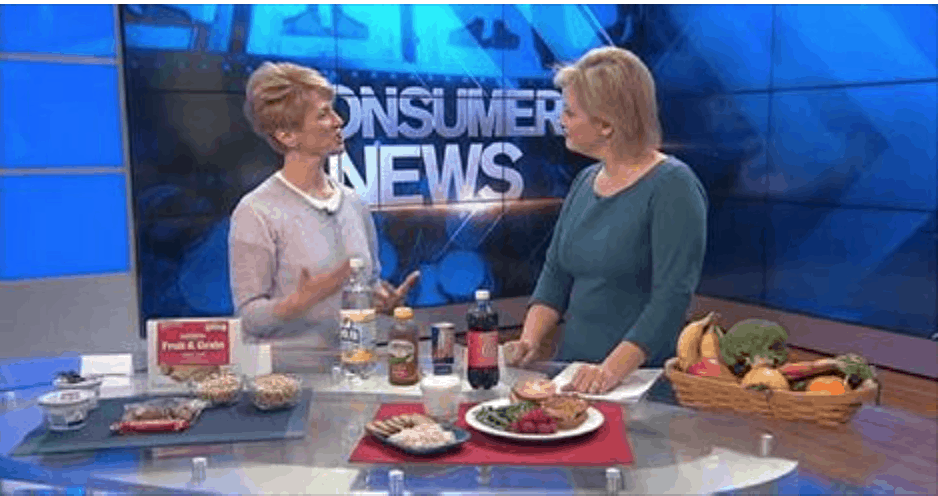 Elizabeth Ward, MS, RD talking about the new dietary guidelines on New England Cable News.