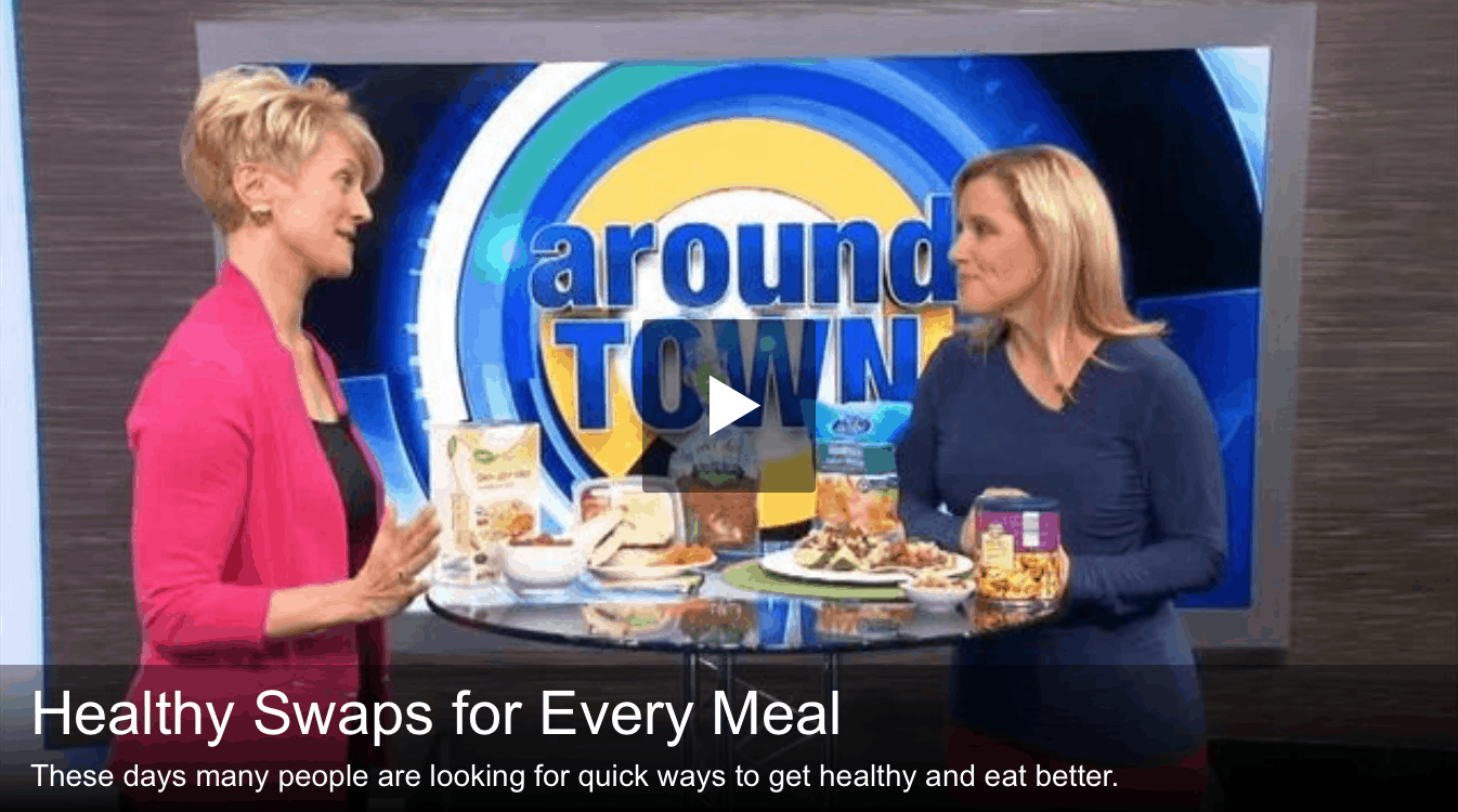 Elizabeth Ward, MS, RD talking about healthy swaps at every meal with foods from ALDI on Boston 25's Around Town.