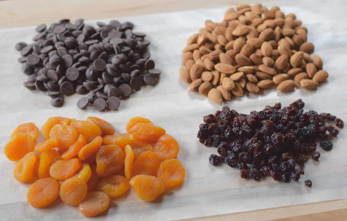 chocolate chips, almonds, raisins, dried apricots