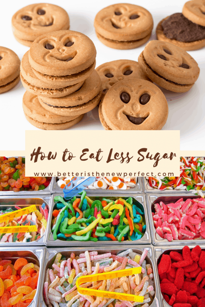 tips for eating less added sugar pinterest graphic