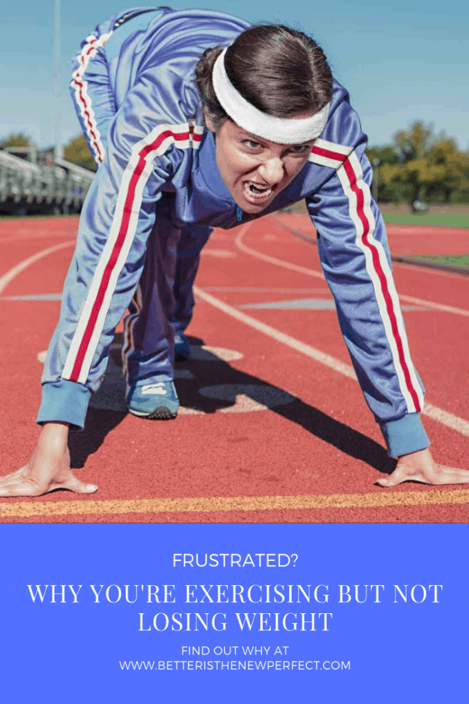 pinterest image of a woman in track suit ready to run a race.