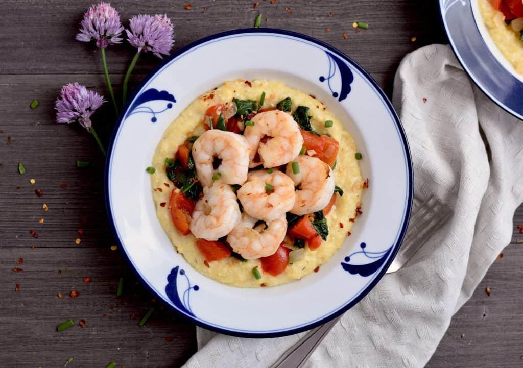 Creamy polenta, shrimp and vegetable bowls