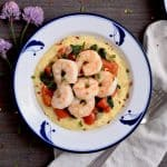 Creamy polenta, shrimp and vegetable bowls