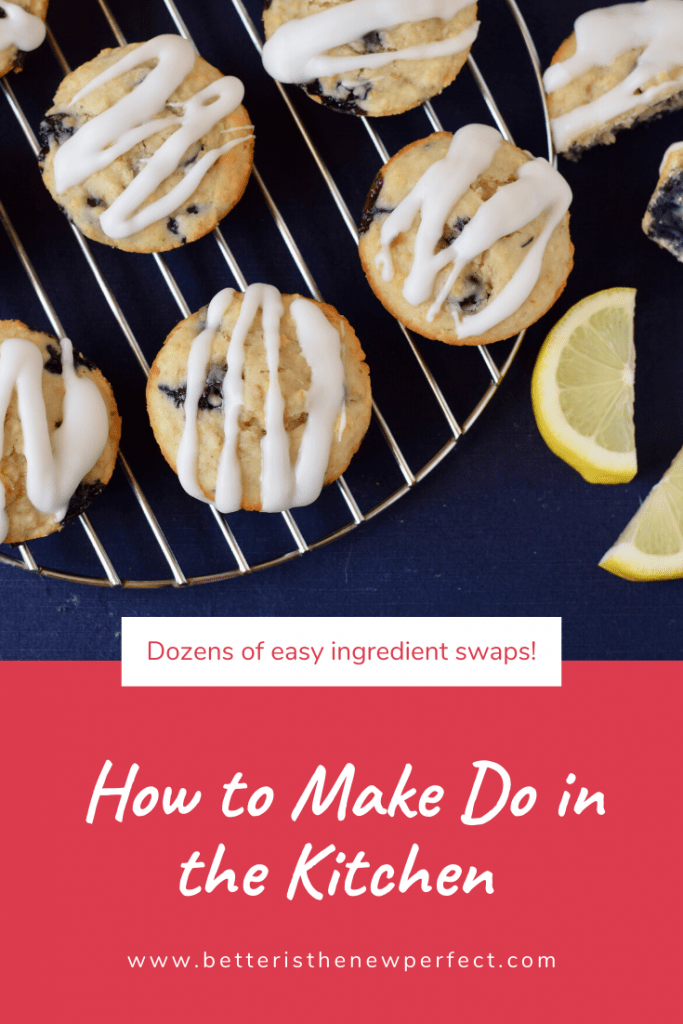 blueberry muffins cooling on a wire rack pin for how to make do in the kitchen