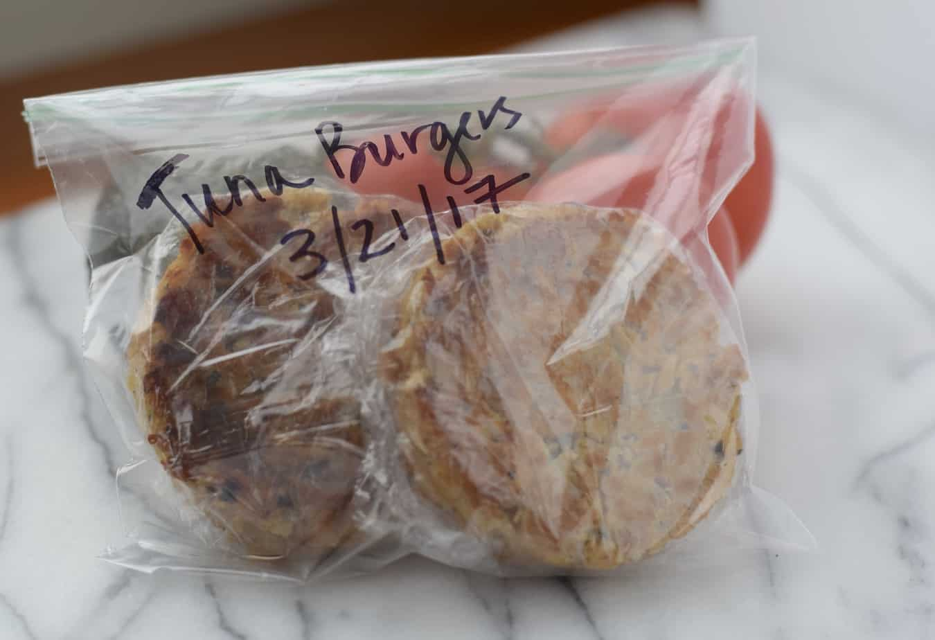 cooked tuna burgers wrapped to freeze for later use