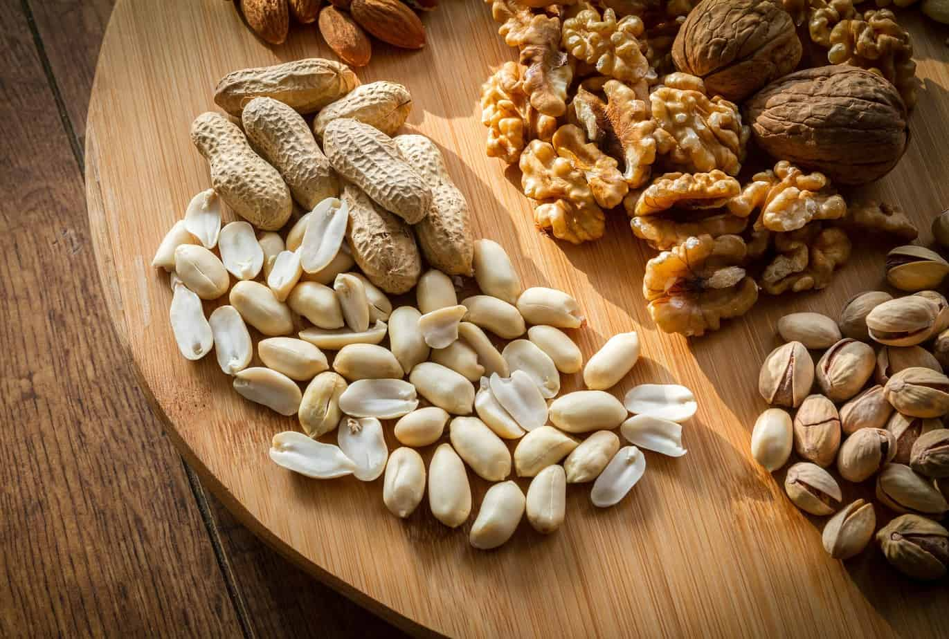 peanuts, walnuts, and pistachios