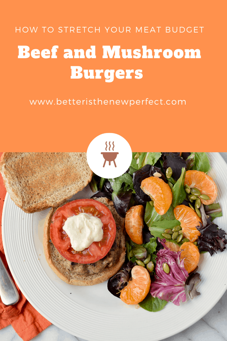 beef and mushroom burger on a plate with salad pinterest