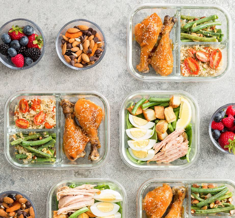 meal prep with healthy foods