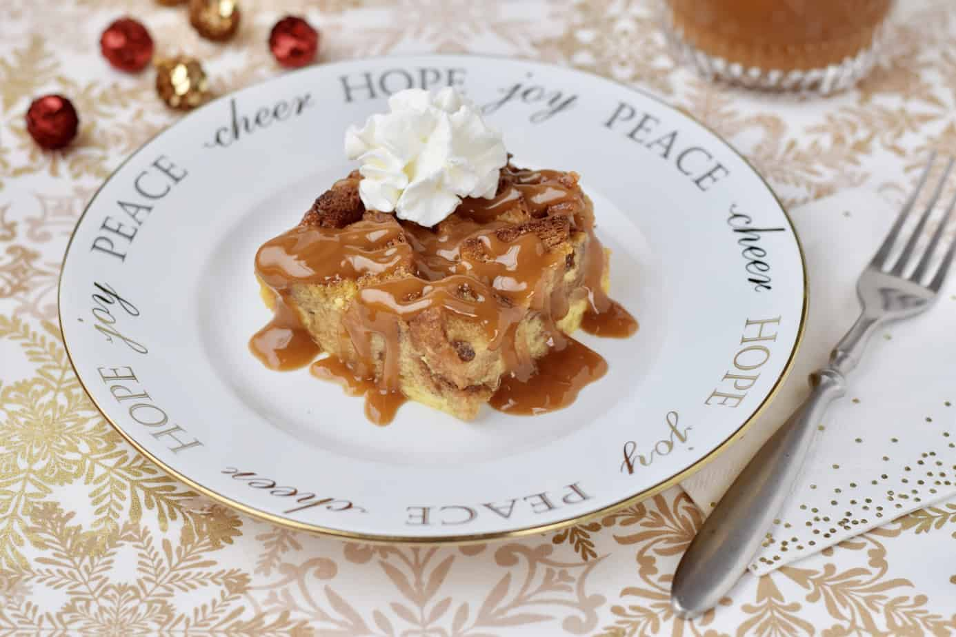eggnog bread pudding with whipped cream photo by Elizabeth Ward, MS RD