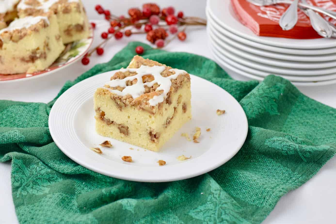 Eggnog Cinnamon-Walnut Streusel Coffee Cake image by Elizabeth Ward MS RD