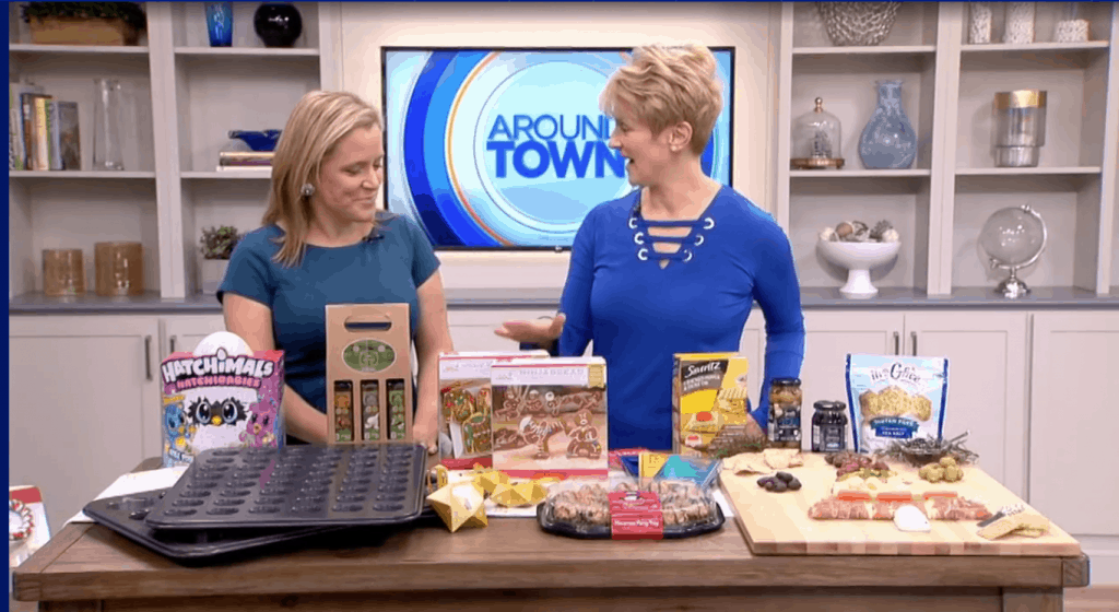 Elizabeth Ward, MS, RD talking about last minute gifts from ALDI on Boston 25's Around Town.