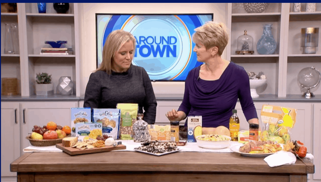 Elizabeth Ward, MS, RD talking about healthy foods to by at ALDI on Boston 25's Around Town.