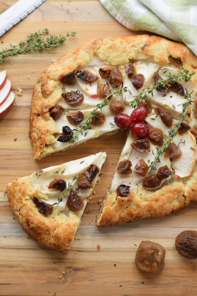 fig, apple, and goat cheese galette