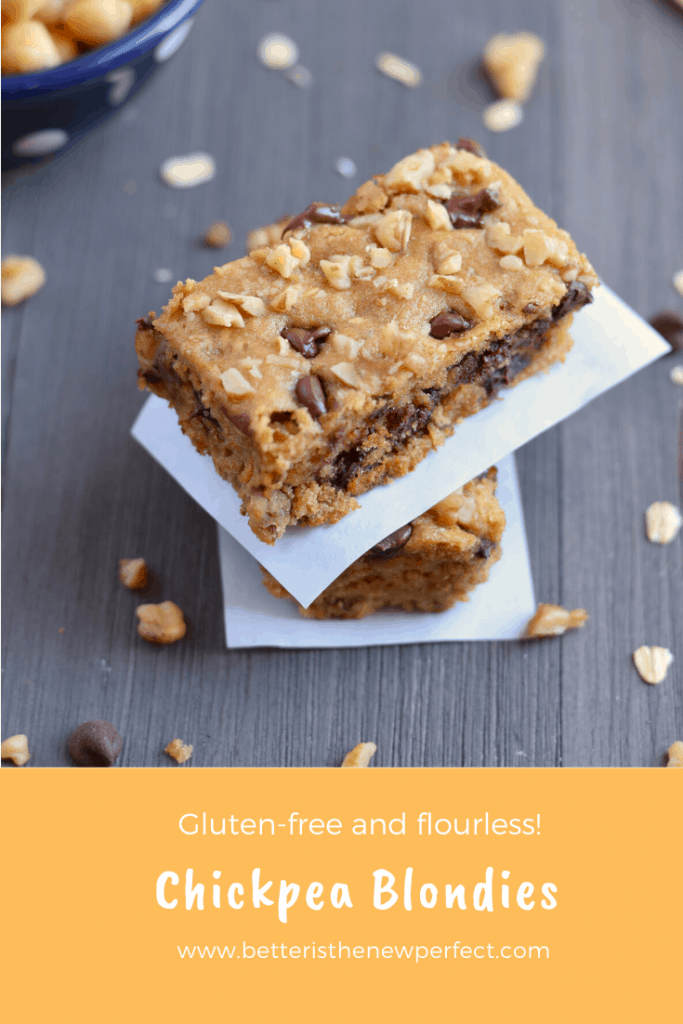 pin for chickpea blondies