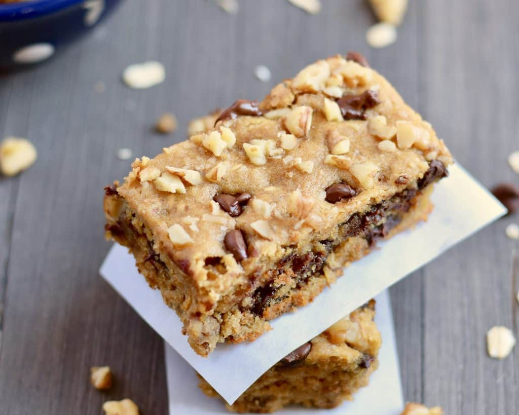 Gluten-free chickpea blondie with chocolate chips and walnuts