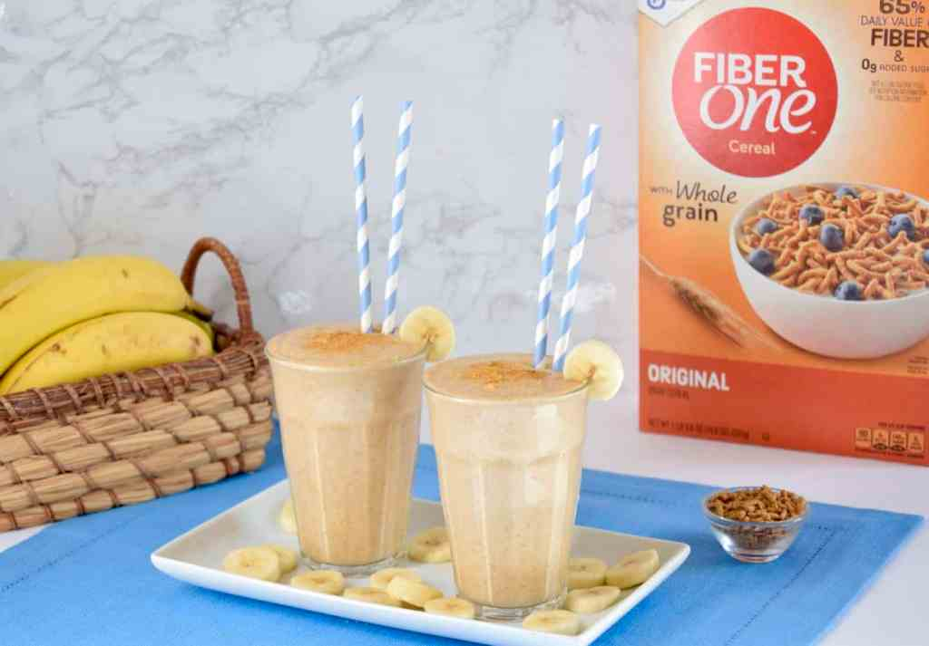 Two banana bread smoothies made with Fiber One Original Cereal